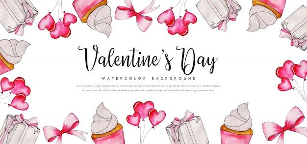Beautiful watercolor valentine banner