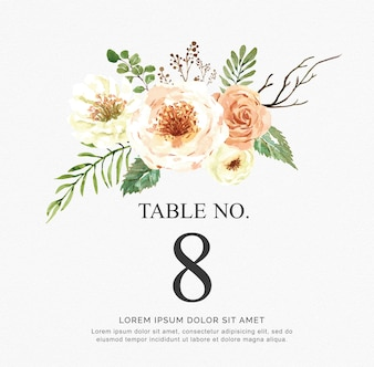 Beautiful watercolor vector invitation with flowers and branch. Table numbers for wedding.