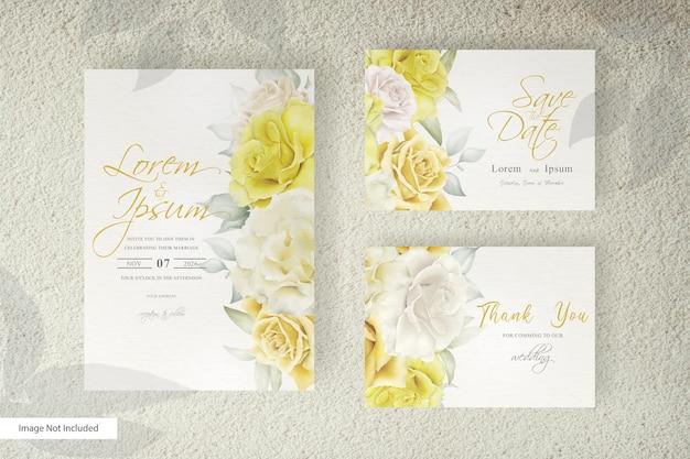 꽃과 나뭇잎 장식으로 설정 아름 다운 수채화 웨딩 카드 템플릿