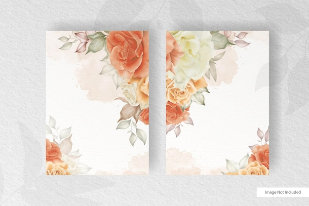 Beautiful watercolor wedding card template set with floral and leaves decoration