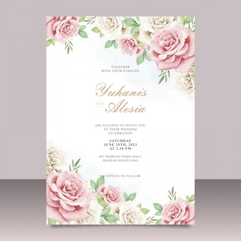 Beautiful watercolor wedding card template with floral design