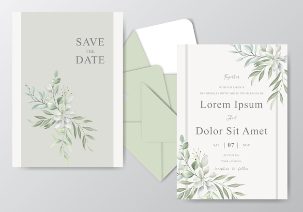 Beautiful watercolor wedding card template with foliage
