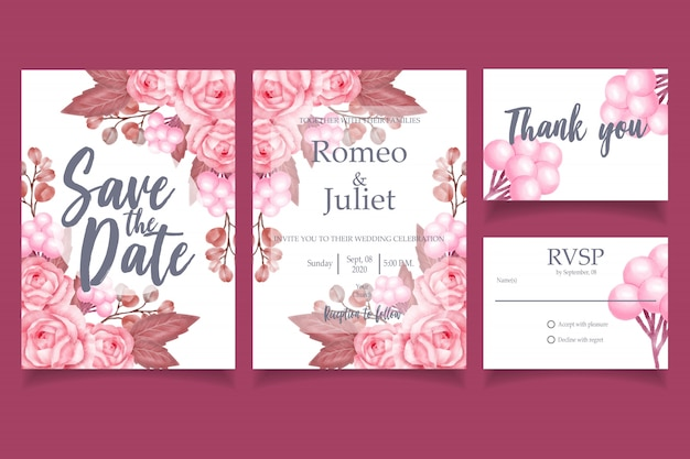 Beautiful watercolor wedding invitation card template elegant