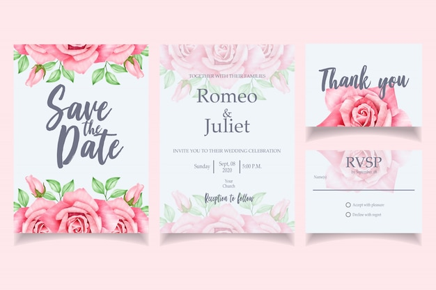 Beautiful watercolor wedding invitation card template red