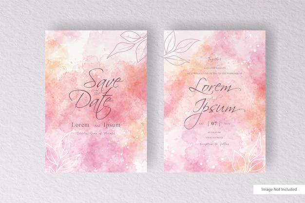 抽象的な手描きの動的流体と手描きの水彩スプラッシュと美しい水彩結婚式の招待カードテンプレート