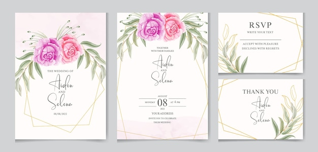 Beautiful watercolor wedding invitation card template with golden frame