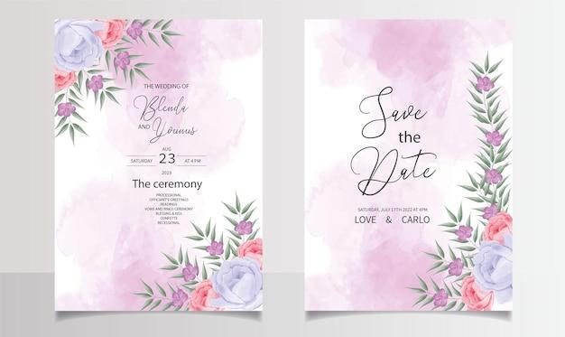 美しい水彩画の結婚式の招待カードのテンプレート