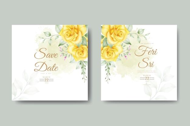 Красивая акварель свадебное приглашение с цветочными листьями