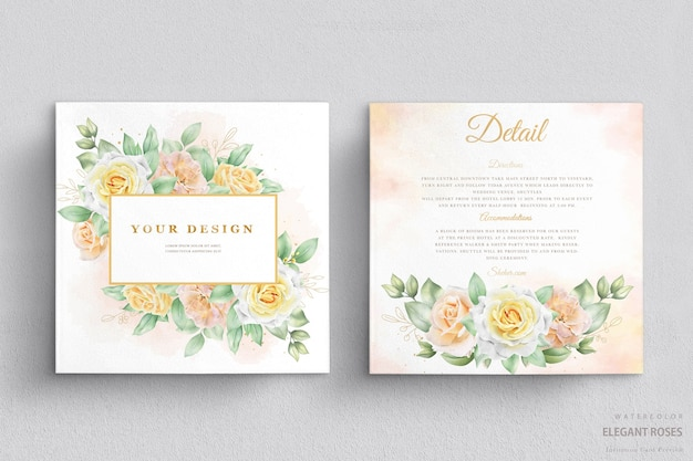 Beautiful watercolor wedding invitation card