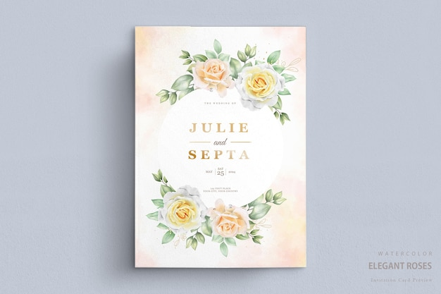 Beautiful watercolor wedding invitation card