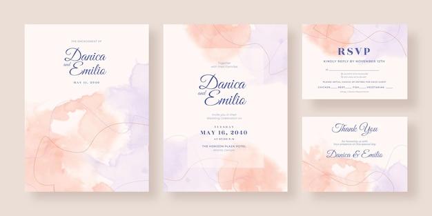 美しい水彩画の結婚式の招待状のコレクションのテンプレート