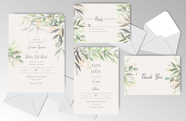 Beautiful watercolor wedding invitation stationary with elegant leaves