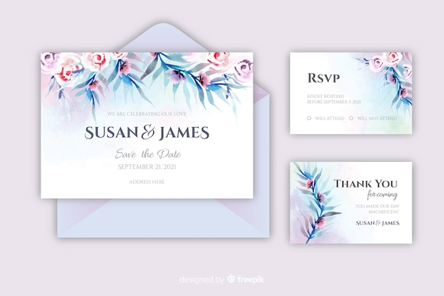 Beautiful watercolor wedding invitation template