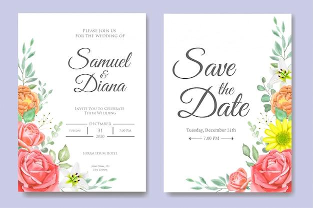 美しい水彩画の結婚式の招待状のテンプレート