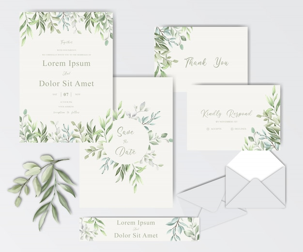 Beautiful watercolor wedding stationary template collection with foliage
