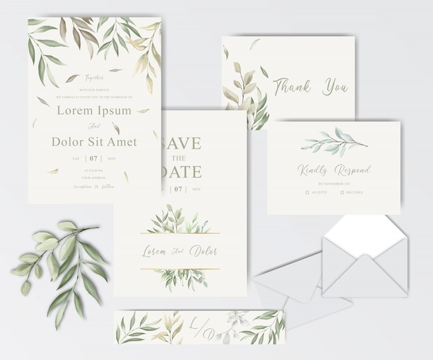 Beautiful watercolor wedding stationery template collection with foliage