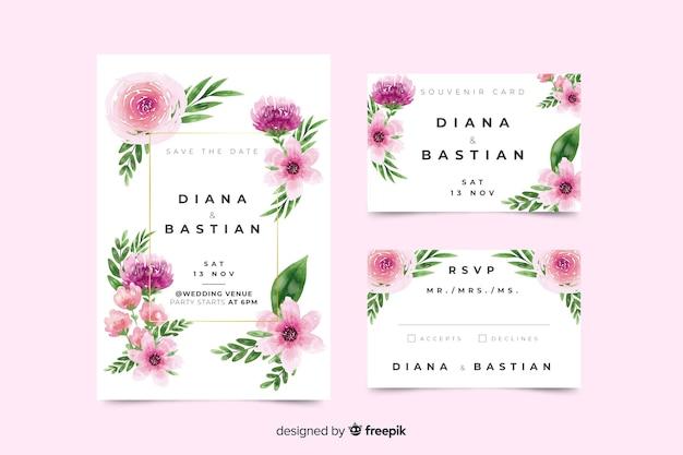 Beautiful watercolor wedding stationery template