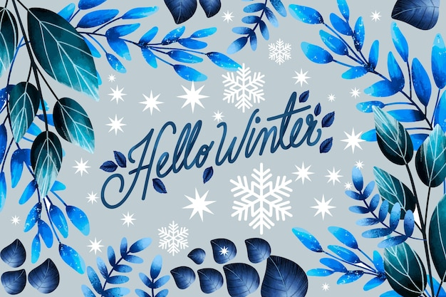 Beautiful watercolor winter background with lettering