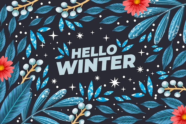 Beautiful watercolor winter wallpaper with greeting