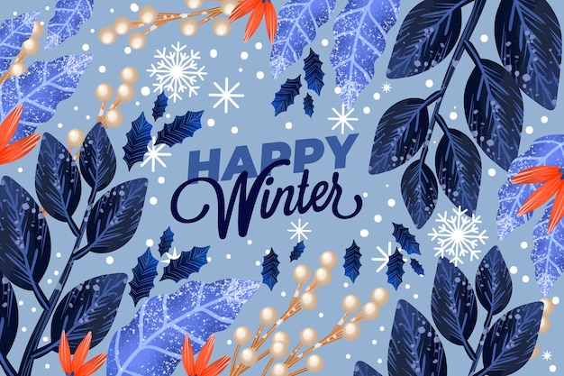 Beautiful watercolor winter wallpaper with lettering