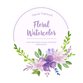 Beautiful watercolor with violet flowers