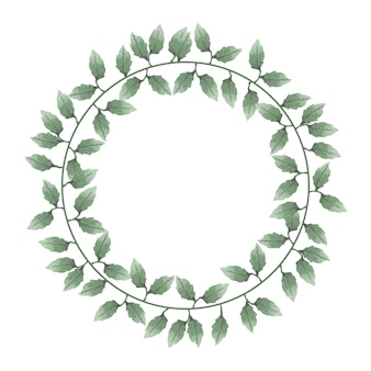 Beautiful watercolor of wreaths of leaves and flowers