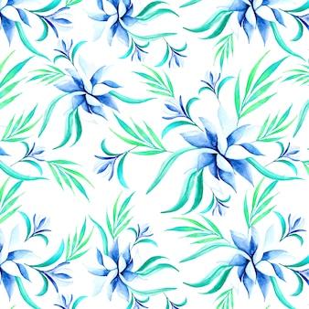아름 다운 수채화 블루 꽃 패턴
