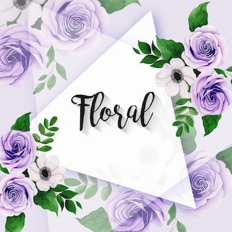 Cornice multiuso con bella composizione floreale ad acquerello per biglietti di auguri per inviti di nozze