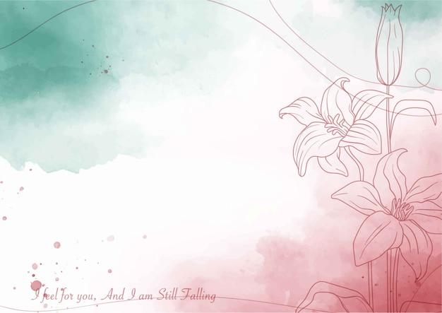 아름다운 수채화 꽃 배경 템플릿