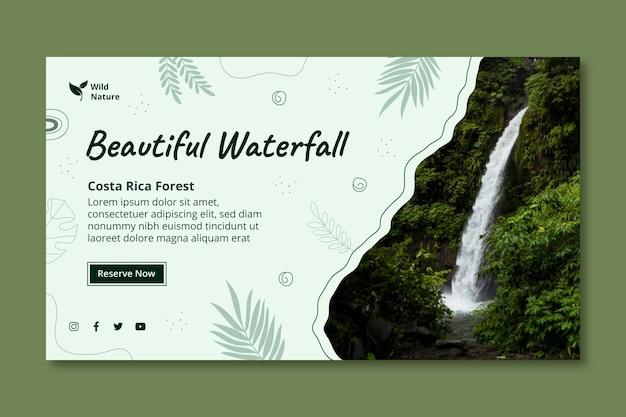 Beautiful waterfall banner template
