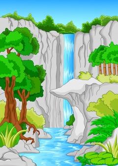 Beautiful waterfall. nature panorama