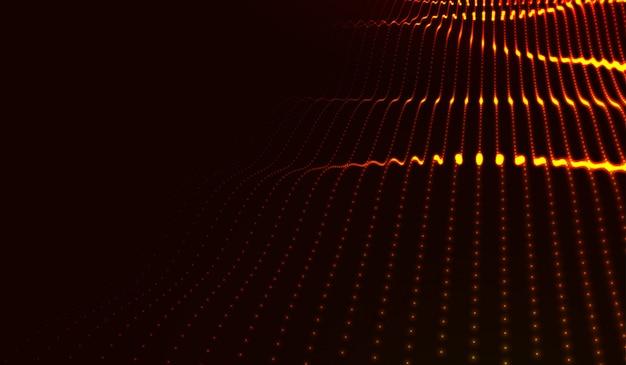 Beautiful wave shaped array of glowing dots
