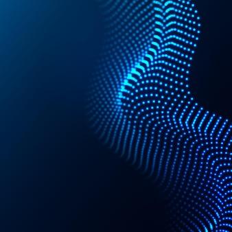 輝くドットの美しい波状の配列。抽象的なデザイン要素。
