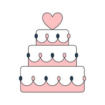 Красивый свадебный торт ко дню рождения с сердечком. сладкое угощение к празднику. простой свадебный значок. каракули векторные иллюстрации