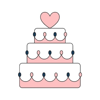 Beautiful wedding birthday cake with heart. a sweet treat for the holiday. simple wedding icon. doodle vector illustration