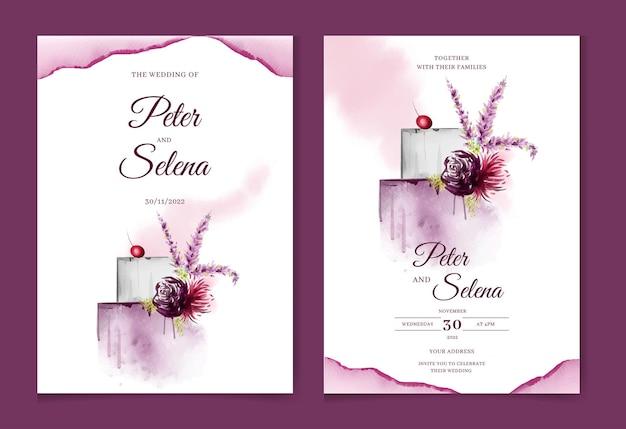 花と美しいウエディングケーキ手描き水彩結婚式の招待状プレミアムベクトル