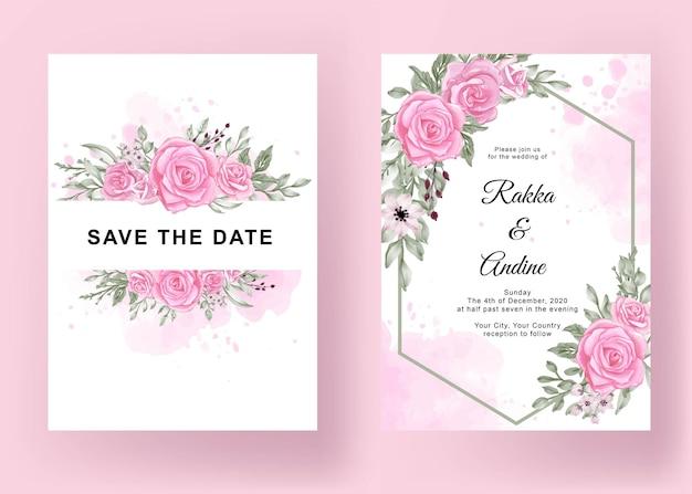 Красивая свадебная открытка элегантный цветочный шаблон