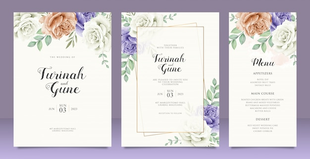 Beautiful wedding card floral garden invitation card marriage
