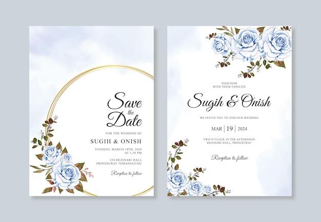 아름 다운 웨딩 카드 꽃 템플릿