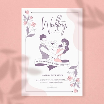 Beautiful wedding card gift template