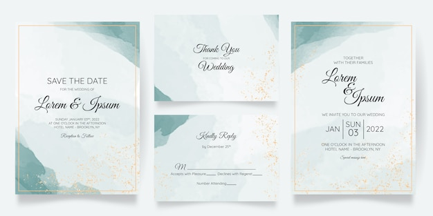 Beautiful wedding card invitation template set with splash watercolor