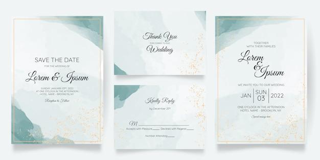 Красивый шаблон приглашения на свадьбу с акварелью
