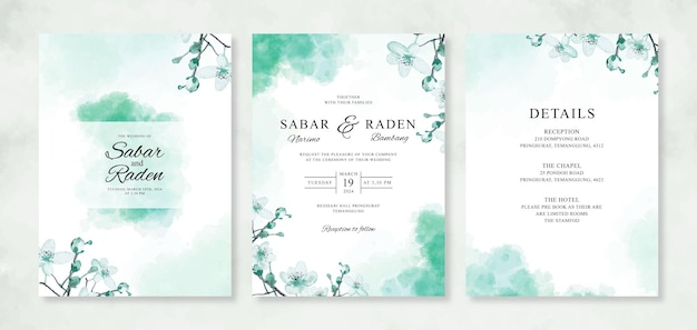 水彩花柄とスプラッシュと美しいウェディングカードの招待状のテンプレート