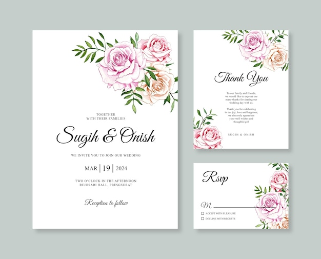 Beautiful wedding card invitation template with watercolor flower