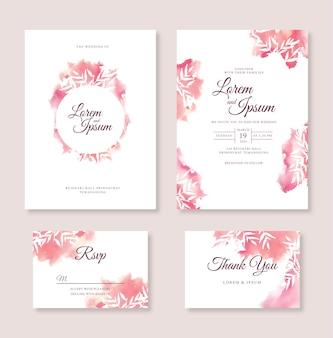 水彩スプラッシュと美しいウェディングカードの招待状のテンプレート
