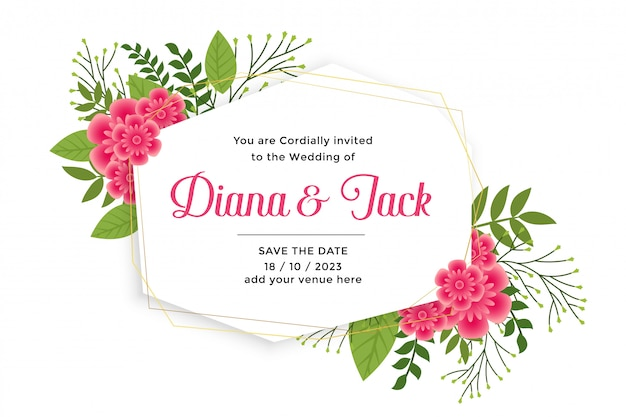 Beautiful wedding card invitation with flower decoration
