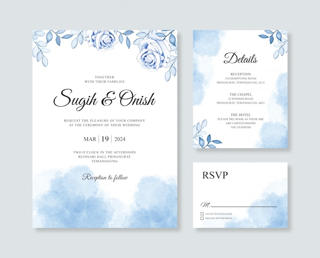Beautiful wedding card invitation with watercolor flower and slpash