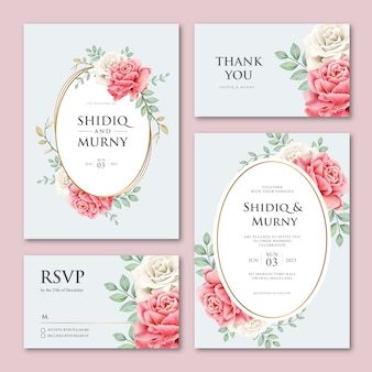 Beautiful wedding card set with roses flowers and leaves
