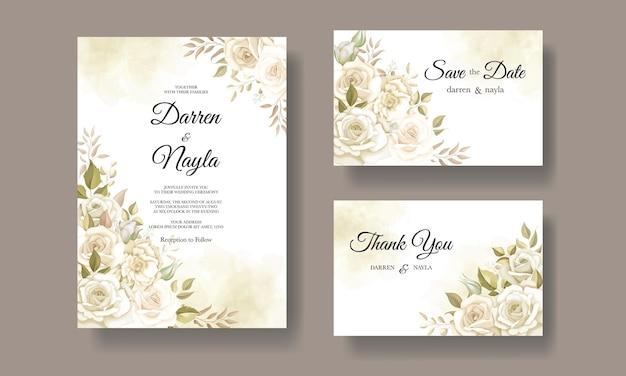 Красивый шаблон свадебной открытки с цветочным дизайном