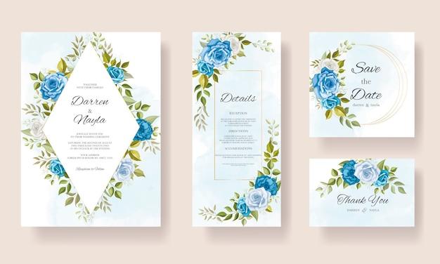 아름 다운 웨딩 카드 서식 파일 꽃 디자인